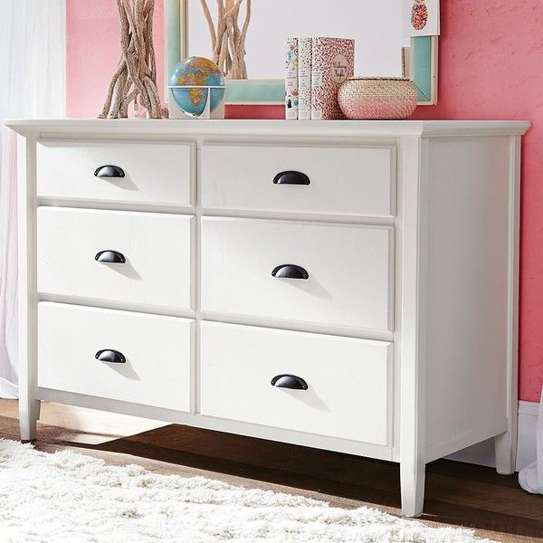 PB Teen Chatham Wide Dresser, White ($690) ❤ liked on Polyvore featuring home, furniture, storage & shelves, dressers, white bedroom dresser, drawer furniture, drawer dresser, storage dresser and white furniture