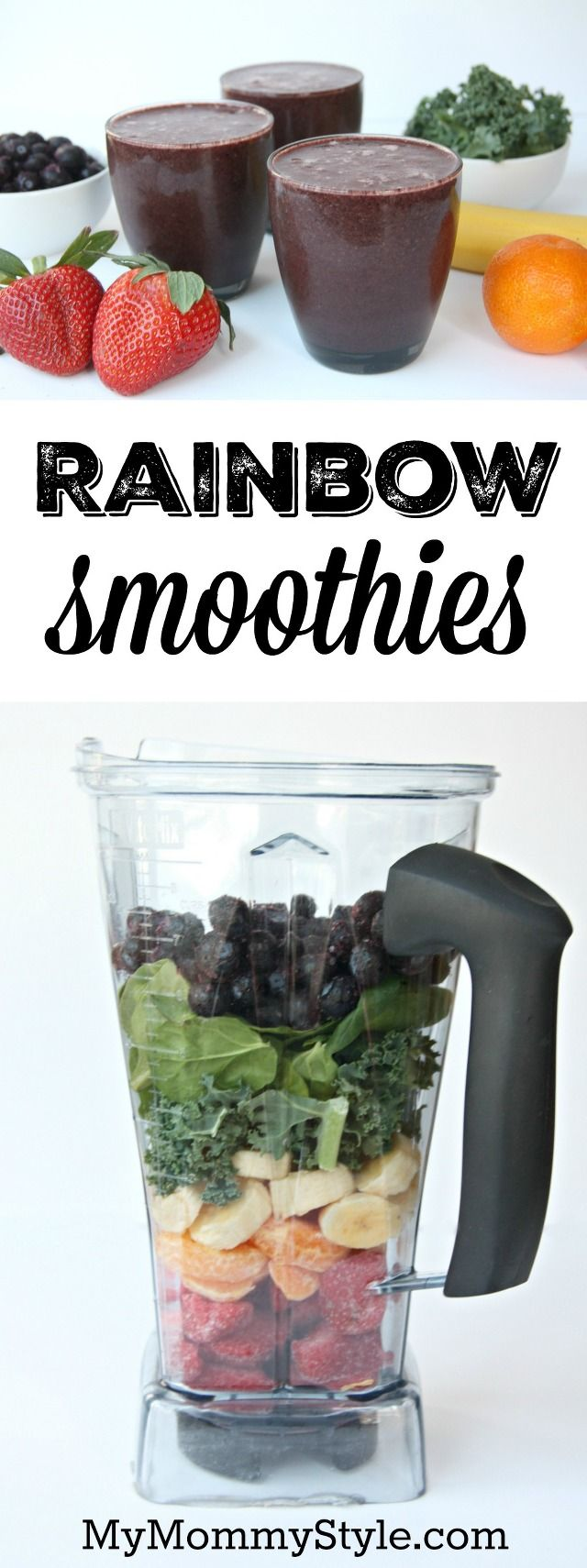 Healthy green smoothie recipe that uses fruits and veggies of all the colors of the rainbow. This would be a fun and healthy breakfast option for St. patrick's day