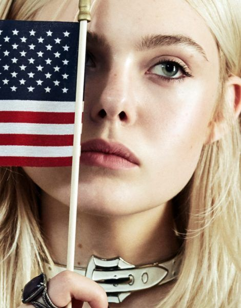 Elle Fanning With USA Flag iPhone Wallpaper