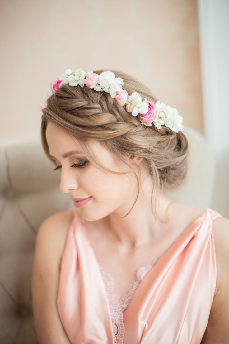 pretty wedding bridal updo hairstyle with side braid