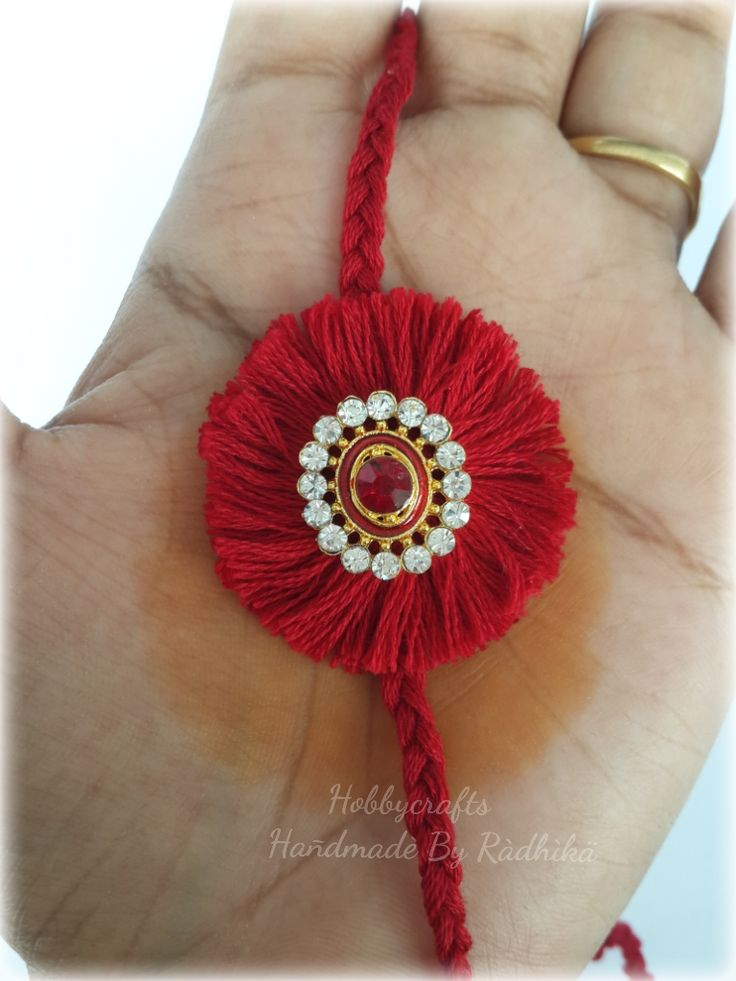 HI friends am with a tutorial to make this Rakhi..  with less supplies you can make beautiful Rakhi at home you just need  Cotton twine ...
