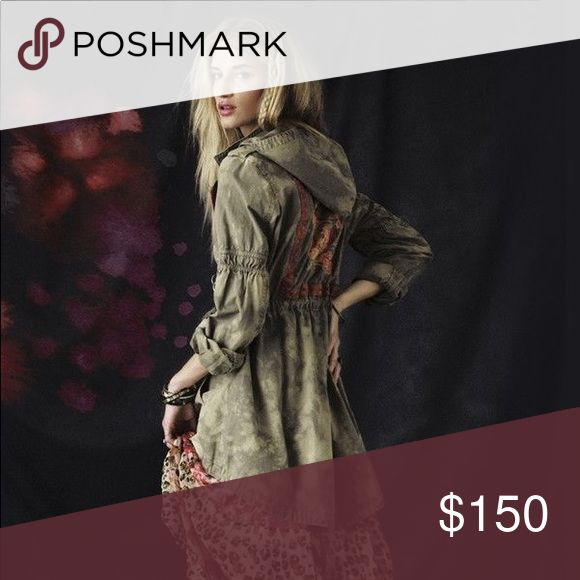 """Free People Embroidered Festival Anorak jacket Tie dye fades a surplus jacket cinched into a unique shape by plenty of utilitarian details. Embroidery trims the placket and continues on the back, creating a framed floral accent. Approx. length from shoulder: front 31""""; back 34"""". Zip front with snap closure. Stow-away hood. Snap epaulets. Snap and hook-and-loop cuffs. Front hidden-snap flap pockets. Drawstring at waist. Split back hem with drawstring tie. Cotton; machine wash. By Free People…"""