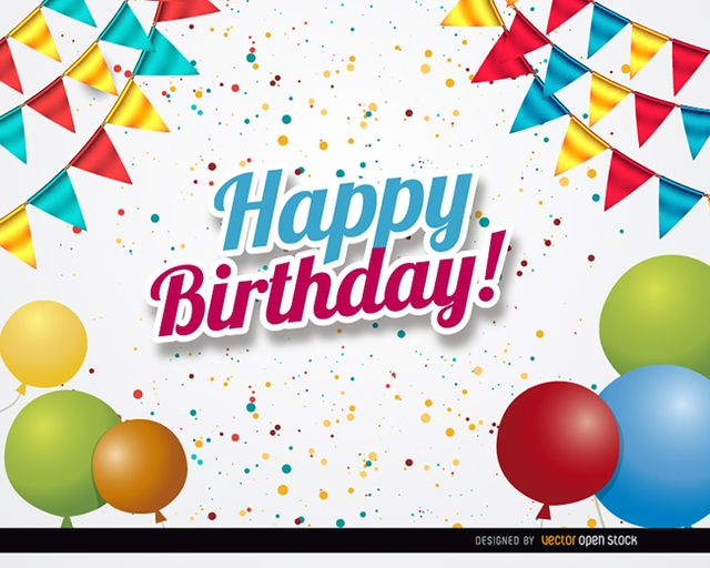 This is a perfect background for announcing a birthday party in posters, invitations, images in social media, and more. It shows confetti falling on colorful balloons and classic party ornaments. Under Commons 4.0. Attribution License.