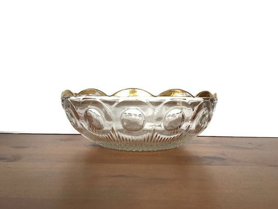 Vintage Clear Glass Bowl Scalloped Edge Gold Trim Dish Hobnail Glass Bowl Bowl Clear Glass