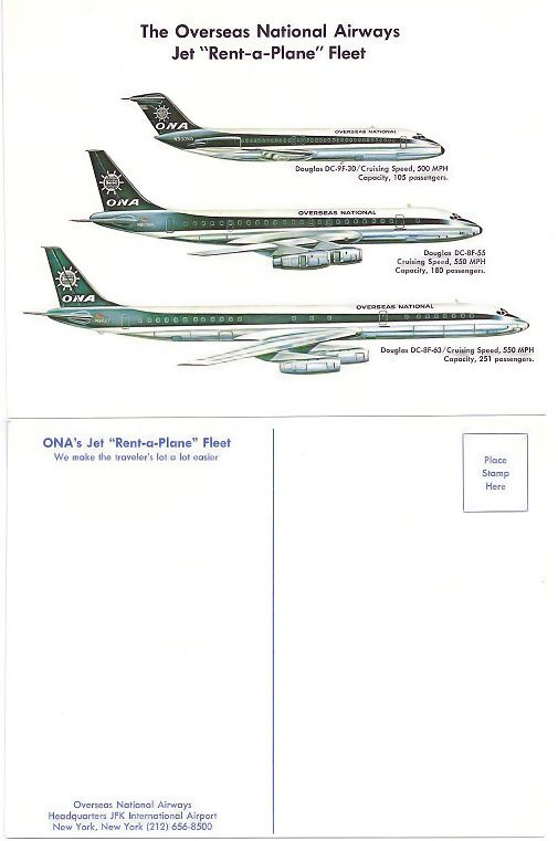 late 1960's, early 1970's 'Rent A Jet' large postcard illustration the available passenger fleet
