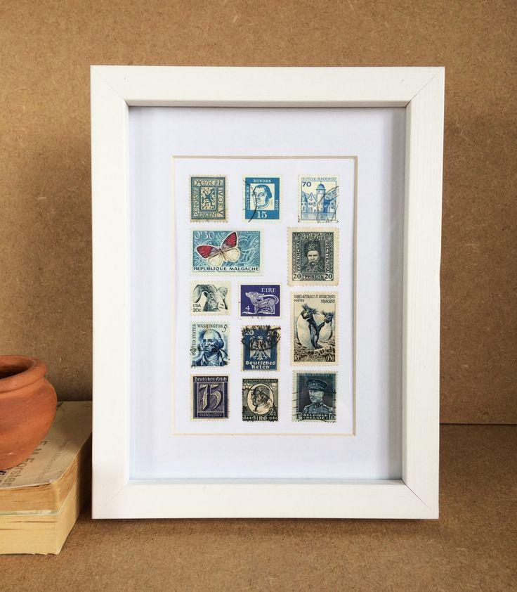 Vintage Framed Stamp Artwork- Indigo by Bettyandbetts on Etsy