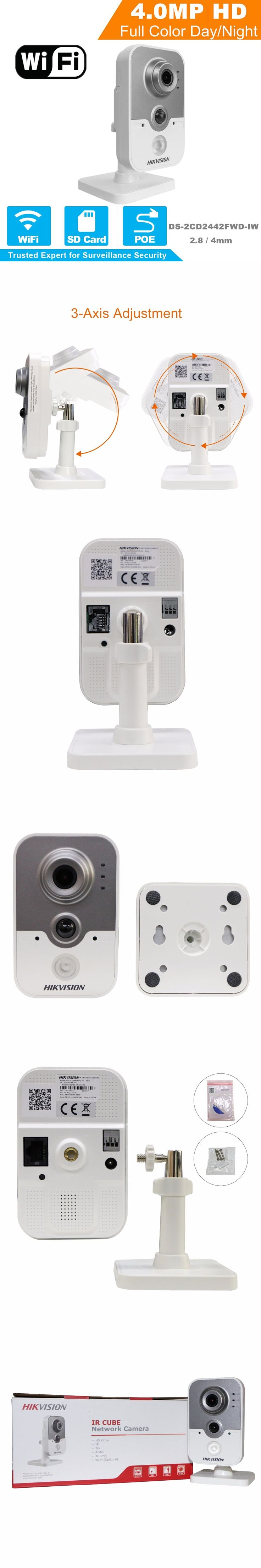 Hikvision HD Wireless IP Camera 1080P DS-2CD2442FWD-IW 4MP IR Cube Network WiFi IP Camera Android Support Replace DS-2CD2432F-IW