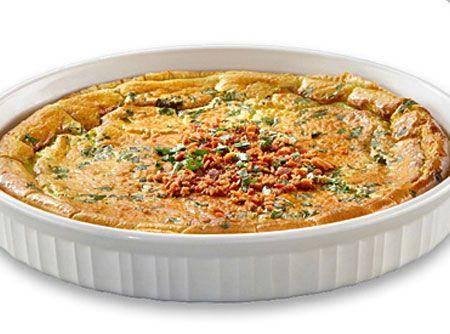 Receita de Quiche Lorraine - Cream Cheese , Queijo Ralado, ovo, nata, caldo de galinha, pimenta-do-reino branca, salsinha, bacon , massa folhada