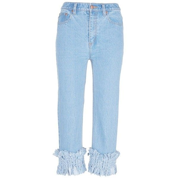 Xu Zhi Braided cuff cropped jeans (€335) ❤ liked on Polyvore featuring men's fashion, men's clothing, men's jeans, blue, mens cropped jeans, mens cuffed jeans and mens blue jeans
