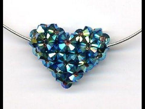 Handmade heart pendant with crystal beads malayalam tutorial