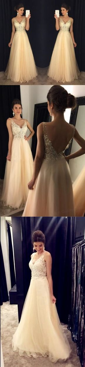 Chic Lace Appliques Beaded V Neck Open Back Long Champagne Prom Dresses 2017,Long Prom Dresses