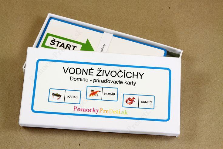 Domino - Vodné živočíchy, priraďovacie karty #ucebnepomocky #didaktickehracky #homeschooling #domacevzdelavanie #pomockypredeti #teachingaids #montessori #domino #dominocards #wateranimalscards
