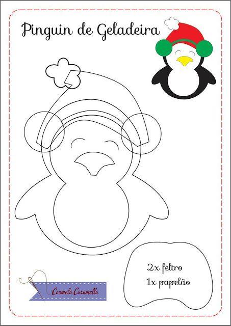 Carmela Caramella : Molde Pinguim Geladeira - natal