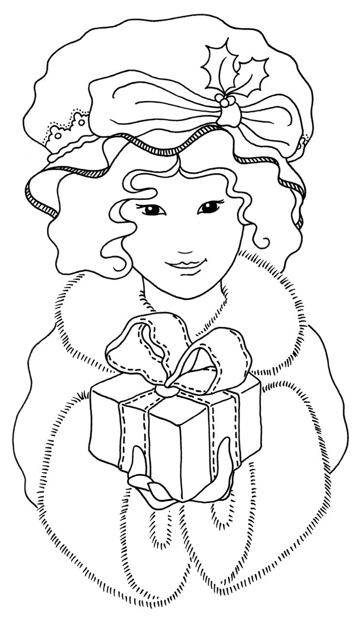 Christmas cards coloring - A Free Digital Stamp Of A Pretty Little Victorian Girl Perfect For Christmas Cards