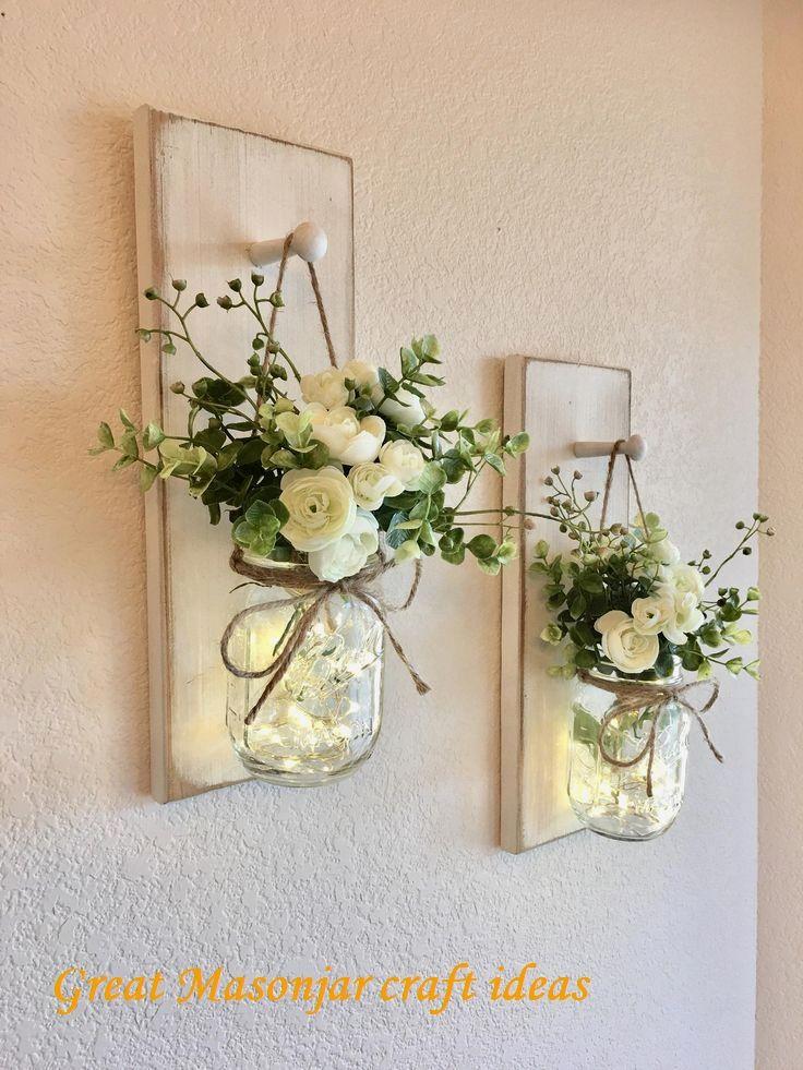 17 Creative Ways To Use Mason Jars In 2020 Farmhouse Wall Decor Decorated Jars Rustic Wall Decor