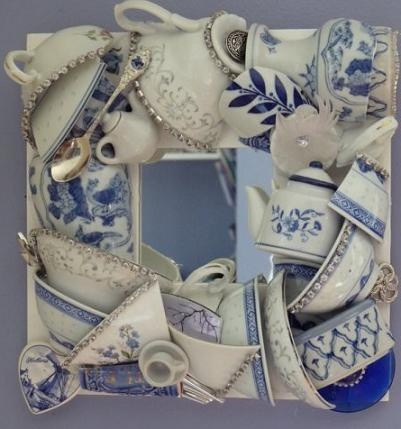 """We love this Teacup Mirror designed by Carmen at 'Beyond the Fringe Crafts'! She says """"I absolutely love this mirror which hangs in my kitchen close to my Dutch Blue Delft crockery set"""""""