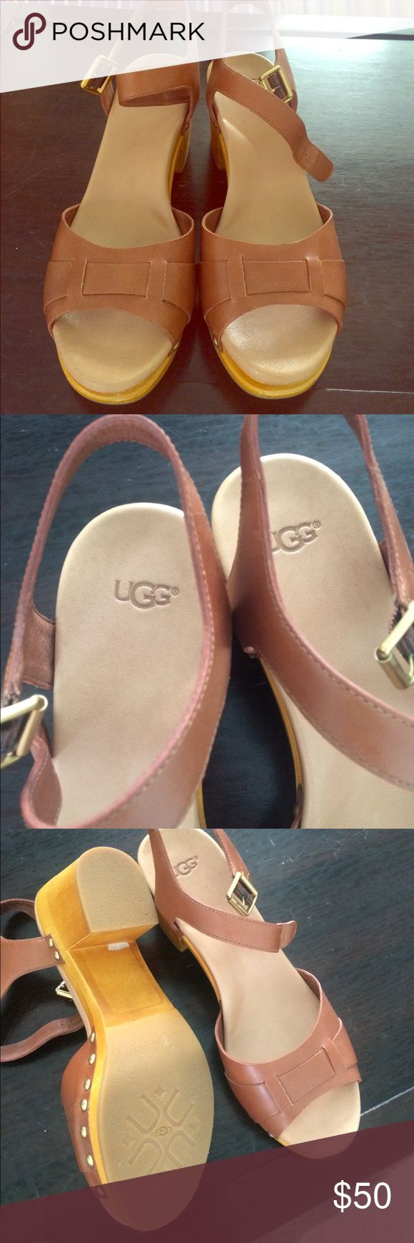 UGG Janie tan leather sandals sz 9 worn once Barely worn, like new UGG Janie sandals with short wooden heel - would be very comfortable for walking if I could squeeze my swollen feet in them - they are a bit narrow so best for someone with slender feet. Retro strappy super cute! UGG Shoes Sandals