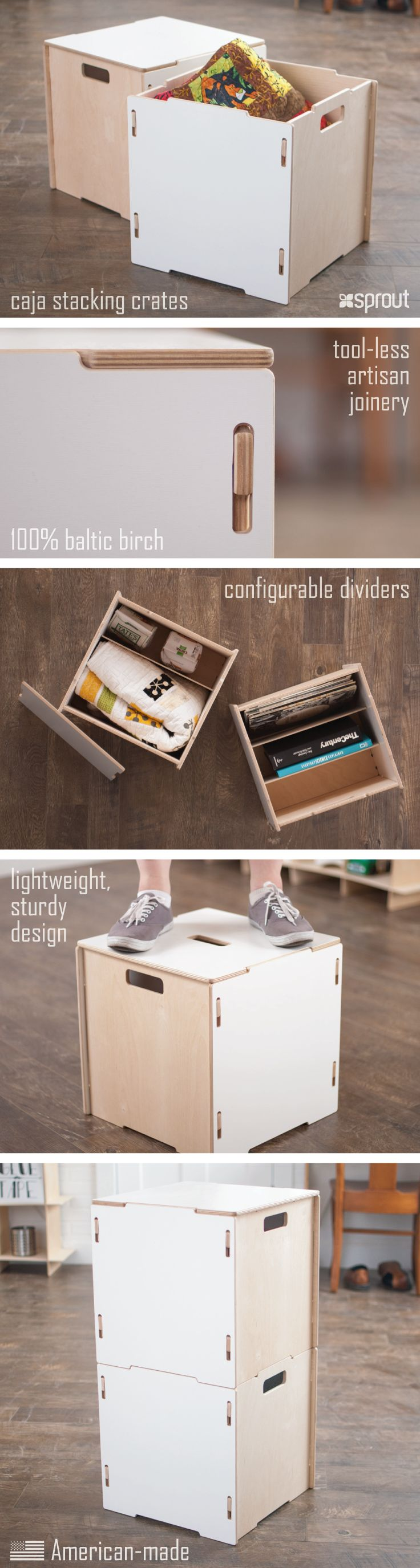 Sprout's stackable storage boxes fit perfectly with the aesthetic of a modern home. You can store anything you need to, right in the living room, without ruining the feeling of the room! These wooden crates come in multiple colors, are modular, and can fit with all of our other crates options for tons of fun organization options. Learn more about the Wooden Storage Boxes at Sprout.