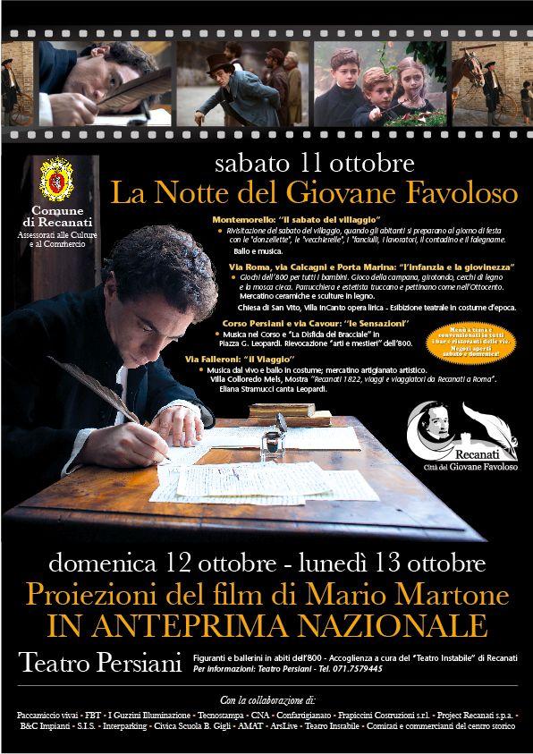Si prospetta una giornata ricca di eventi, sabato 11 ottobre a Recanati in occasione dell'anteprima del film Il Giovane Favoloso che si terrà invece domenica 12 ottobre alle ore 17:00 presso il Teatro Persiani. #Recanati