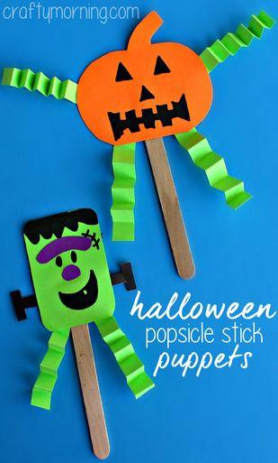 Easy Halloween Stick Puppets #Halloween craft for kids to make! #Frankenstein and pumpkins | CraftyMorning.com