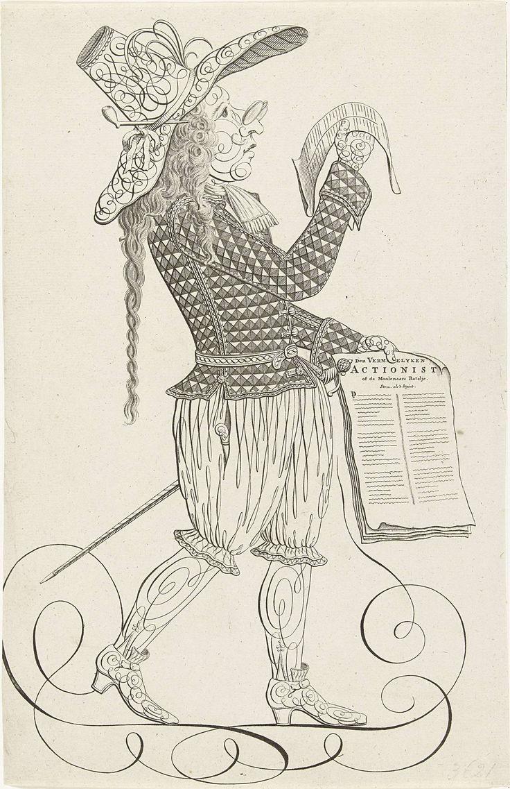 Anonymous | Kalligrafie van man met spotlied op de actionisten, ca. 1720, Anonymous, 1720 | Kalligrafie van een man met grote hoed en bril die leest van een blad. In de andere hand een stapel papieren waarvan de boven getiteld is: De Vermakelyken Actionist of de Moolenaars Batalje. Pendant van de kalligrafie van de vrouw met kind en windmolens. Behoort tot de groep van bijprenten toegevoegd aan de serie Tafereel der Dwaasheid met spotprenten op de Windhandel of Actiehandel van 1720.