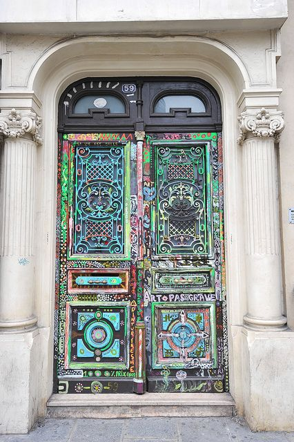 Multicolored painted door. Paris