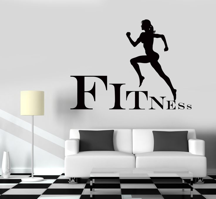 wall decal fitness girl gym woman sport vinyl sticker on wall stickers design id=71956