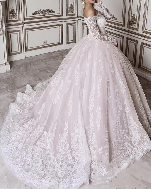 Vintage Lace Long Sleeves Wedding Ball Gown Dresses Off Shoulder With Images Lace Wedding Dress With Sleeves Ball Gowns Wedding Dress Long Sleeve