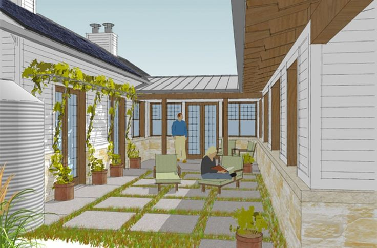 Passive Solar Home Plan Courtyard | Greensburg Eco-Home - A Sustainable Home for Greensburg, Kansas ...