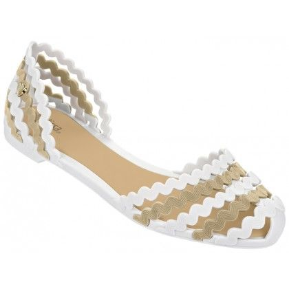 Mel Dreamed by Melissa | Sweetie White/Toffee Sandals | www.melshoes.com