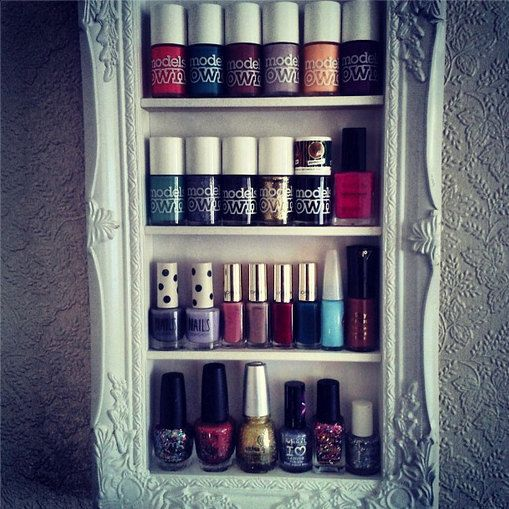 Framed Wall Shelving for Nail Varnish and Accessories Organisation via Etsy