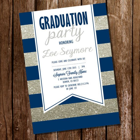 Navy Blue And Silver Graduation Invitation Blue And The
