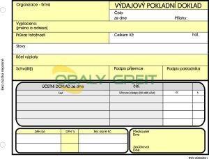 Výdajový pokladní doklad A6 NCR 100 listů