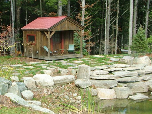 10x16 pond house cabin example shows optional autumn red for Small pond house plans