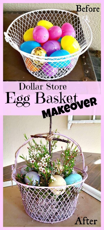 Diy Dollar Tree Easter Basket Craft Makeover Easter Eggs Diy Easter Decorations Dollar Store Dollar Tree Easter Basket