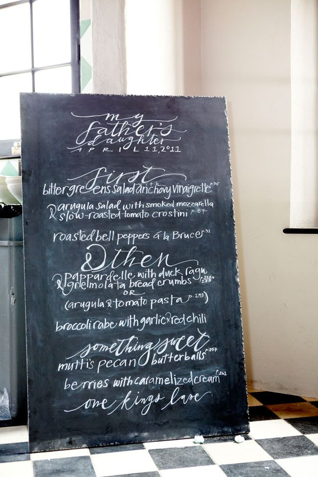 stunning chalkboard menu from neither snow