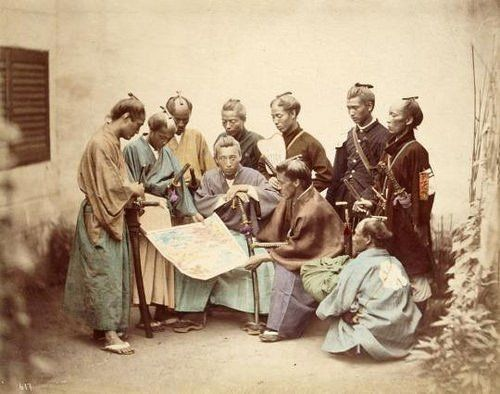 Samurai of the Chosyu clain Japan 1860s photographed by Felice Beato.