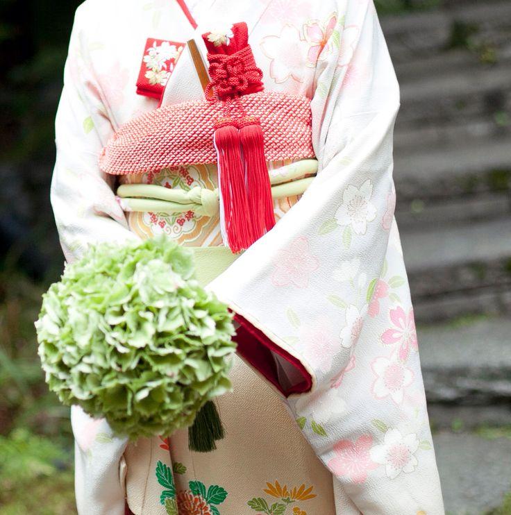 和装 紫陽花だけのブーケ japanese wedding bouquet