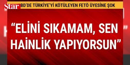 """FETÖ üyesine tokat gibi cevap: Elini sıkmam, hainsin: Kapatılan Zaman gazetesinin eski genel yayın yönetmenlerinden FETÖ üyesi Abdülhamit Bilici, ABD'de verdiği konferanslarla yabancılara Türkiye'yi kötülemeye devam ediyor. Konferans çıkışı elini sıkmak istediği bir Türk'ten """"Elini sıkamam, sen hainlik yapıyorsun"""" cevabı alan Bilici, profesyonel korumaları tarafından uzaklaştırıldı."""