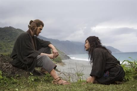 This undated image distributed by 2016 FM Films, LLC., shows protagonist Jesuit Sebastiao Rodorigues, left, played by Andrew Garfield, and Japanese villager Kichijiro played by Yosuke Kubozuka in a scene from Martin Scorsese's latest film Silence. Japan film director Shinya Tsukamoto was drawn to Scorsese's 'Silence' and his own films by the evolution of a recurrent theme - the nature of violence. (2016 FM Films, LLC. via AP)