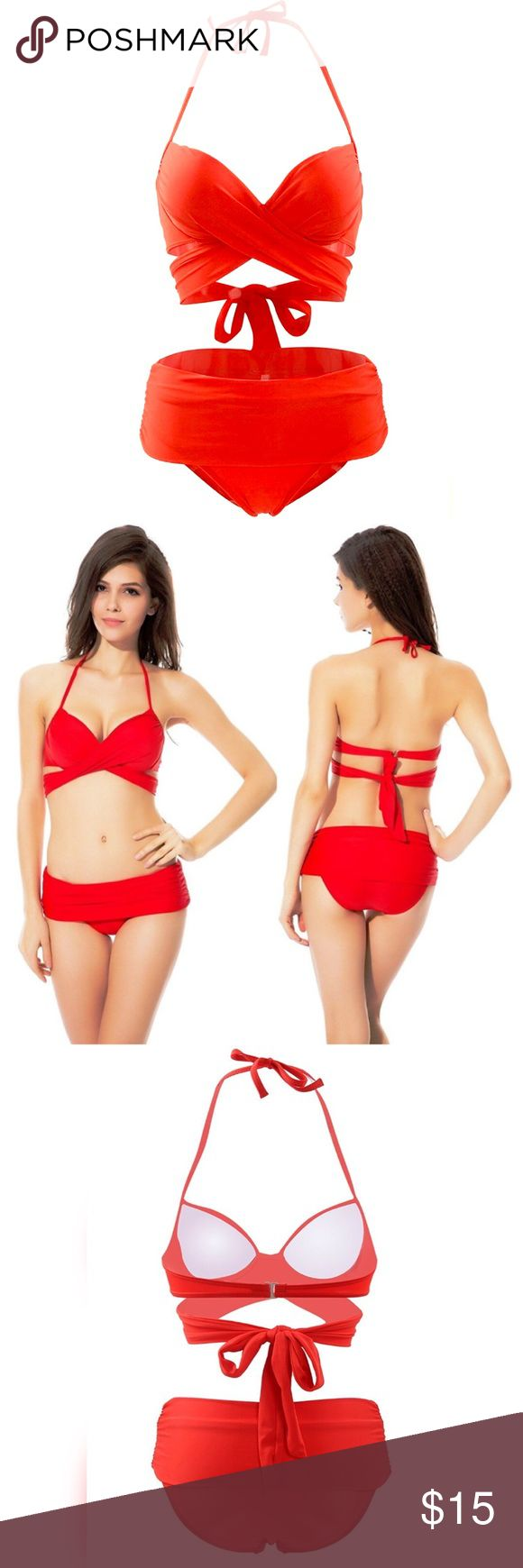 Strappy multiway bikini Cute little red bikini. Halter style top with clasp & tie back. Top can be worn a ton of ways (pictured). Bottoms can be worn with a high waist or folded down low. Tried on but never worn. Didn't Come with tags or it would still have them-does come in original packaging & with crotch liner. Labeled L but I'd say it fits more like a M. Swim Bikinis