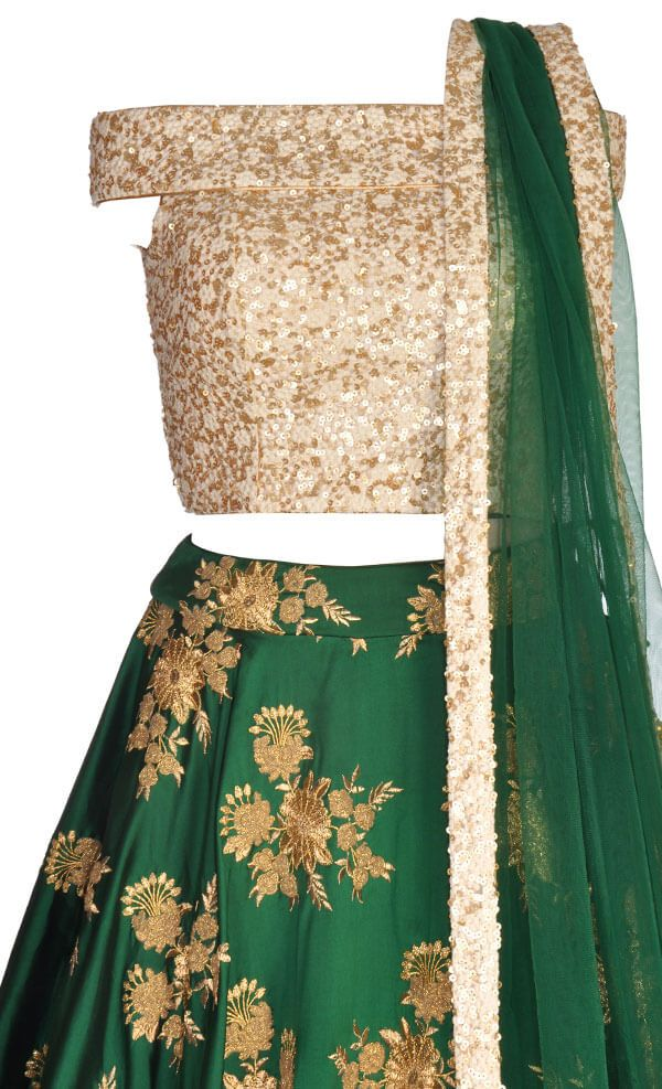 Bottle Green Off Shoulder Lehenga