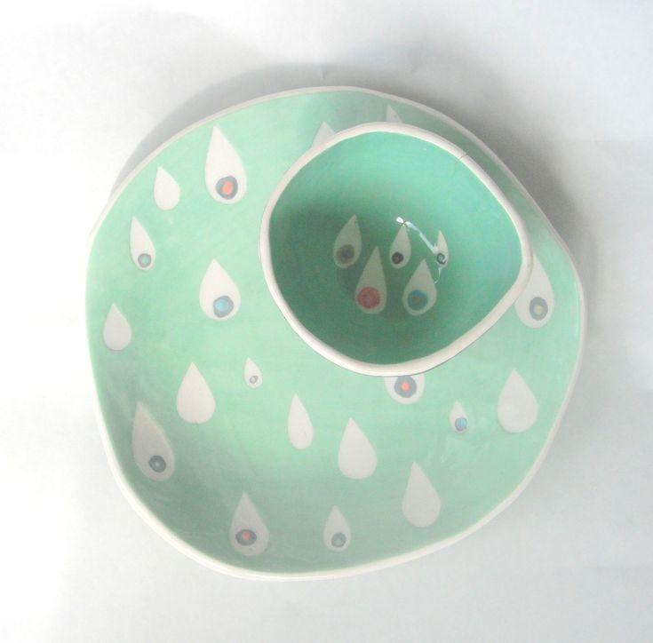 Dessert plate Mint Raindrops