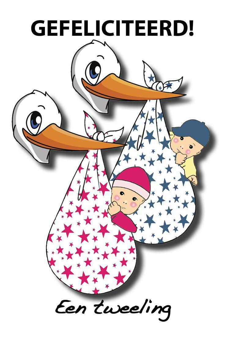 Felicitatiekaart geboorte tweeling felicitatie kaarten pinterest - Twee meisjes en een jongen ...
