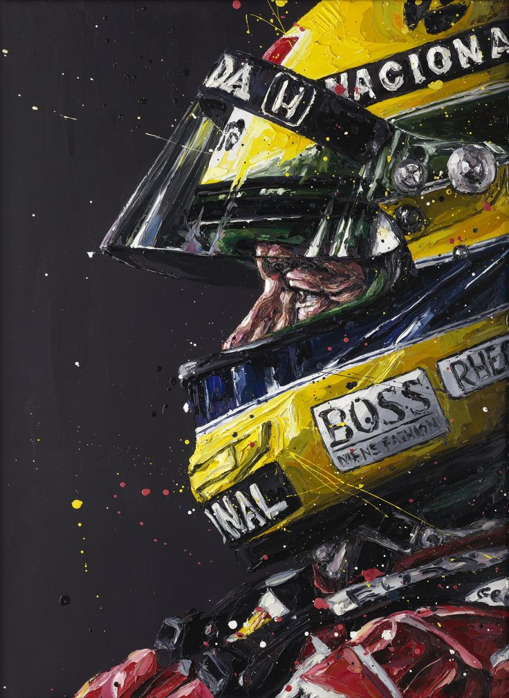 Paul Oz is the buzz word in Formula One art; widely acclaimed for his explosive and energetic artworks and well-respected for his genuine passion for the sport.  We are proud to present to you this very limited edition, hand embellished Paul Oz print, which portrays Ayrton Senna's striking portrait profile; wearing his iconic yellow helmet.  Paul manages to capture clear determination in Senna's face - even though only the driver's eyes and nose are visible throug...