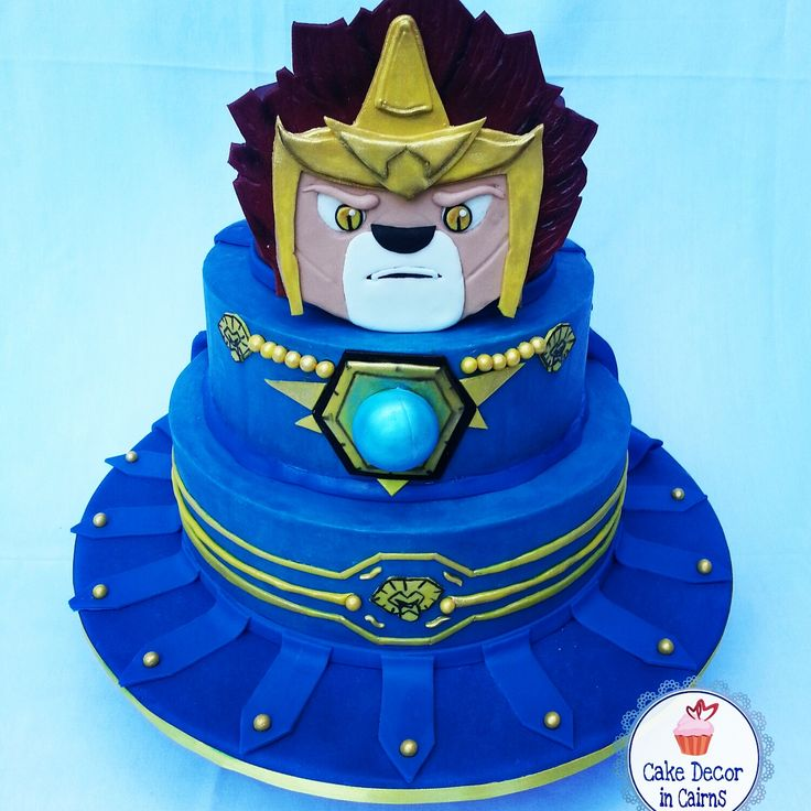 how to make chima fondant | Lego Chima Laval Cake, decorated in Blue Colored Ganache by Cake decor ...