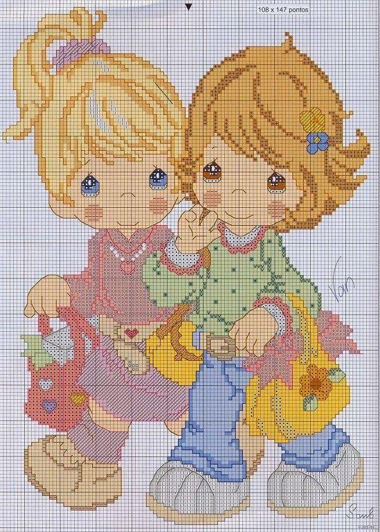Hobby lavori femminili - ricamo - uncinetto - maglia: schema punto croce precious moment 23