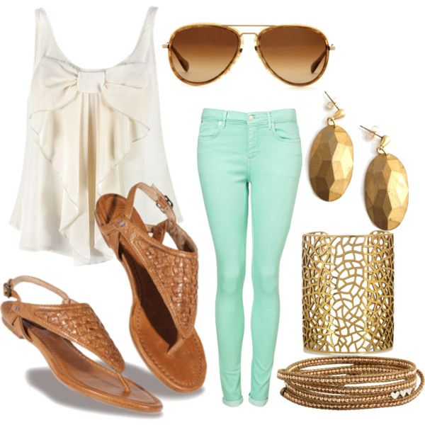 : Mint Pants, Fashion, Mint Green, Style, Colors Jeans, Clothing, Summer Outfits, Bows, Mint Jeans