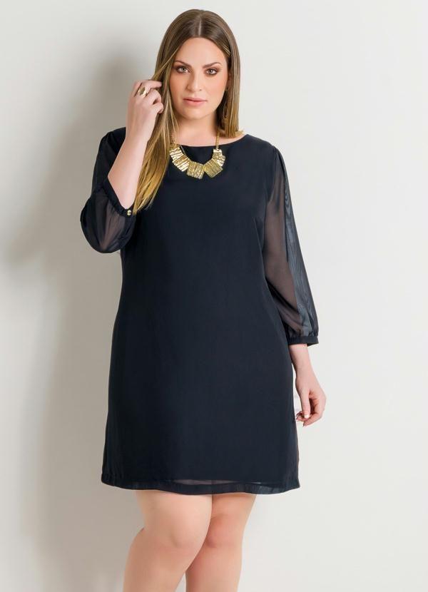 Vestido com Transparência Preto Plus Size - Quintess