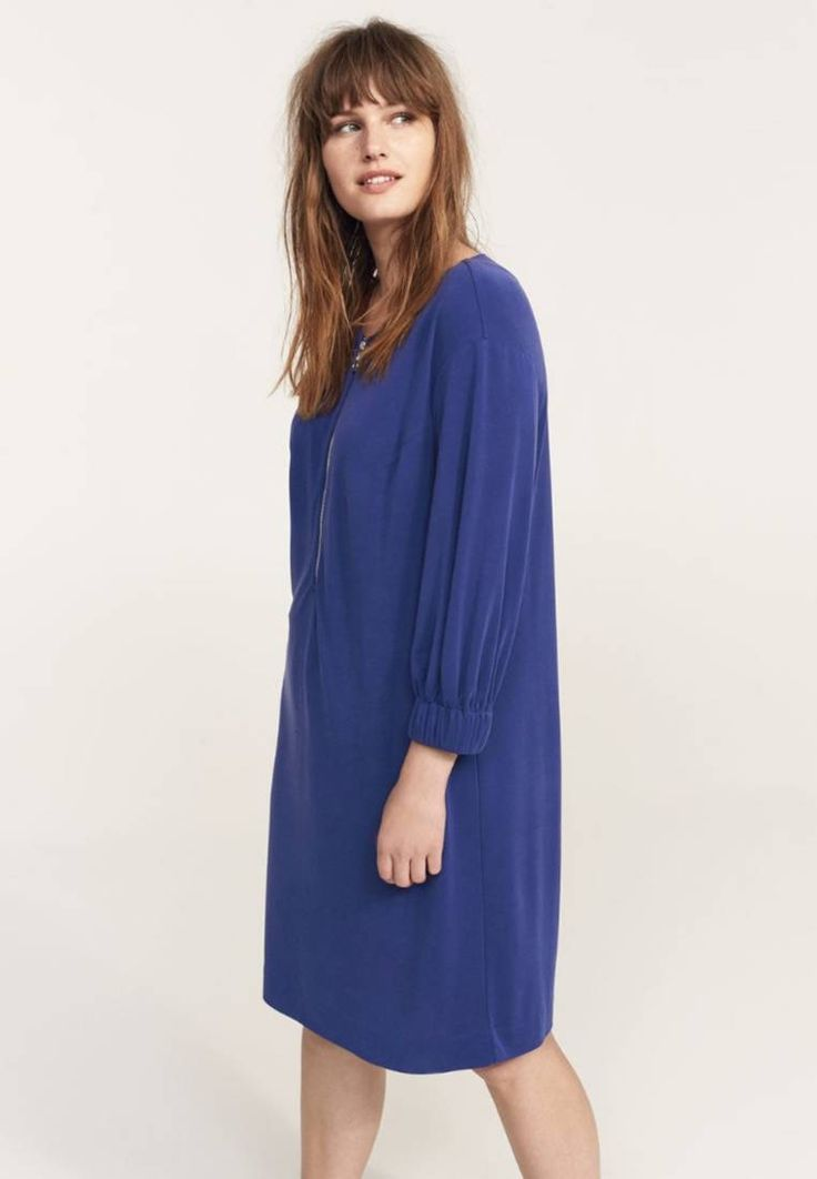 Violeta by Mango. CUPRY - Summer dress - vibrant blue. Fit:large. Outer fabric material:75% modal, 25% polyester. Pattern:plain. Care instructions:do not tumble dry,machine wash at 30°C. Fastening:zip. Neckline:round neck. Length:knee-length. Sleeve le...